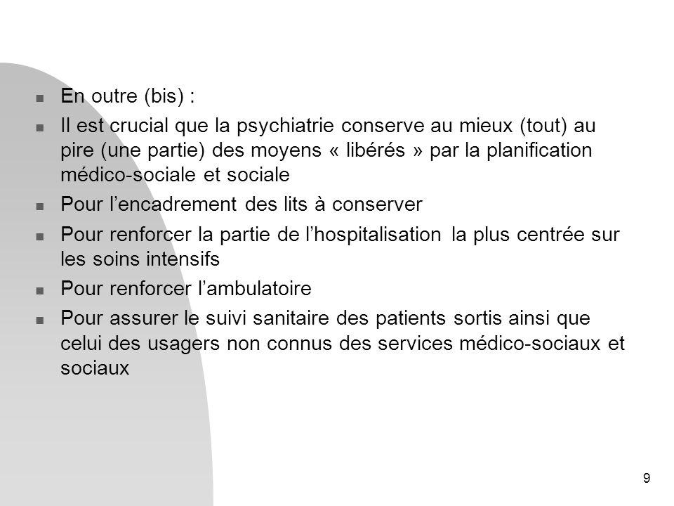 10 En outre (ter) - Il est crucial que loffre médico-sociale et sociale pour les sortants de psychiatrie (et les autres) soit une réussite pour lensemble des patients, la validité du processus en général et la possibilité, pour tous les acteurs, dêtre gagnants.