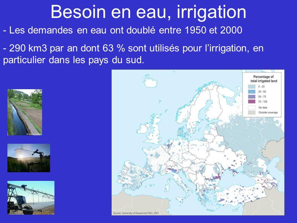 Besoin en eau, irrigation - Les demandes en eau ont doublé entre 1950 et 2000 - 290 km3 par an dont 63 % sont utilisés pour lirrigation, en particulier dans les pays du sud.