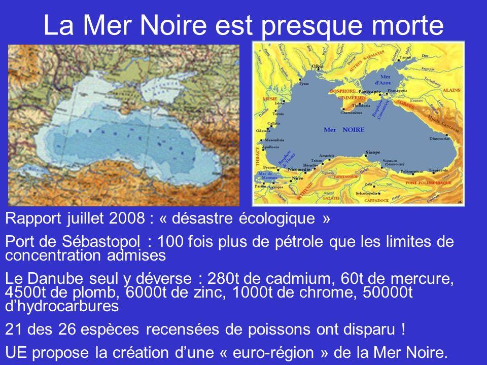 La Mer Noire est presque morte Rapport juillet 2008 : « désastre écologique » Port de Sébastopol : 100 fois plus de pétrole que les limites de concentration admises Le Danube seul y déverse : 280t de cadmium, 60t de mercure, 4500t de plomb, 6000t de zinc, 1000t de chrome, 50000t dhydrocarbures 21 des 26 espèces recensées de poissons ont disparu .