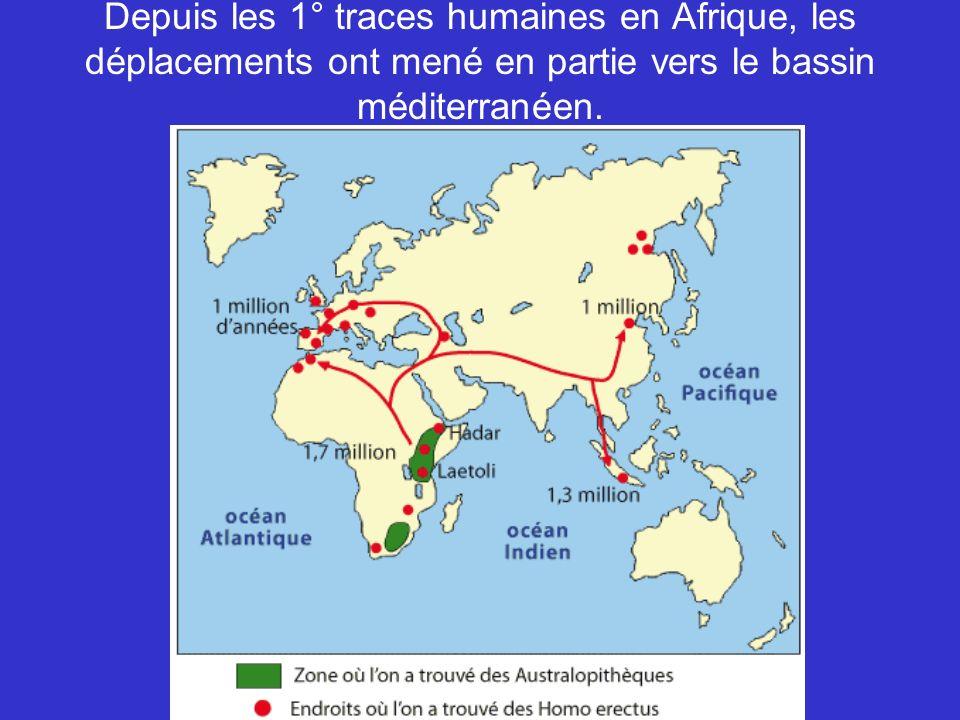 Depuis les 1° traces humaines en Afrique, les déplacements ont mené en partie vers le bassin méditerranéen.