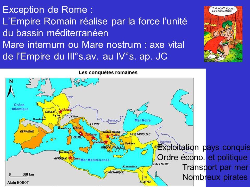 Exception de Rome : LEmpire Romain réalise par la force lunité du bassin méditerranéen Mare internum ou Mare nostrum : axe vital de lEmpire du III°s.av.