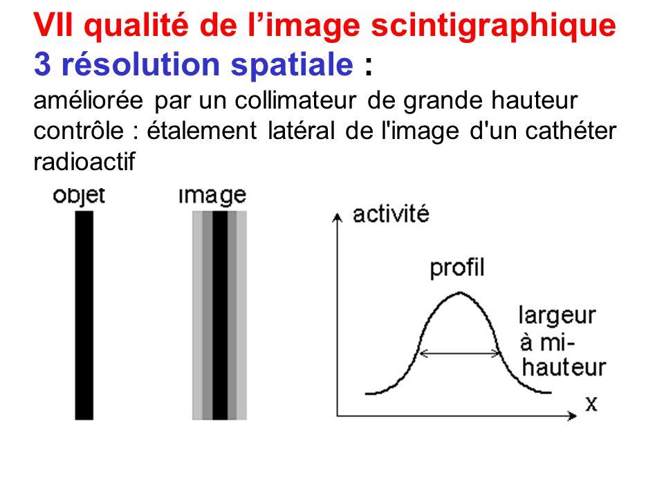 VII qualité de limage scintigraphique 2 sensibilité de détection : augmentée en élargissant les trous du collimateur 3 résolution spatiale : améliorée