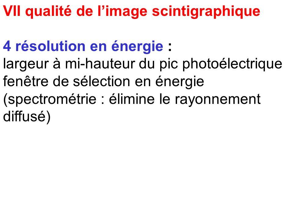 VII qualité de limage scintigraphique 3 résolution spatiale : améliorée par un collimateur de grande hauteur contrôle : étalement latéral de l'image d