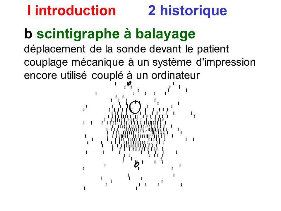 I introduction 2 historique b image : scintigraphe à balayage déplacement de la sonde devant le patient couplage mécanique à un système d'impression e