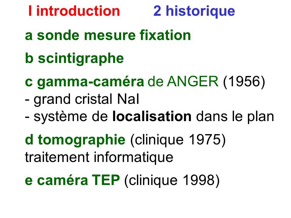 I introduction 2 historique b scintigraphe défauts : - pas de dynamique - très lent (mesure point par point) c gamma-caméra de ANGER (1956) - grand cr