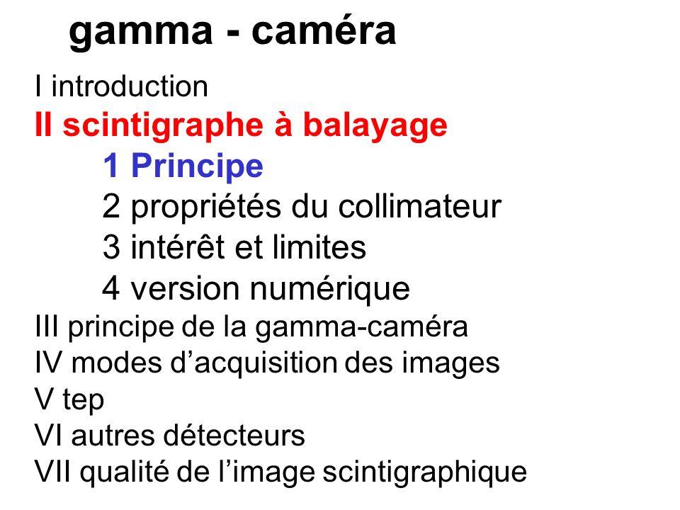 I introduction 2 historique a sonde mesure fixation b scintigraphe c gamma-caméra de ANGER (1956) - grand cristal NaI - système de localisation dans l