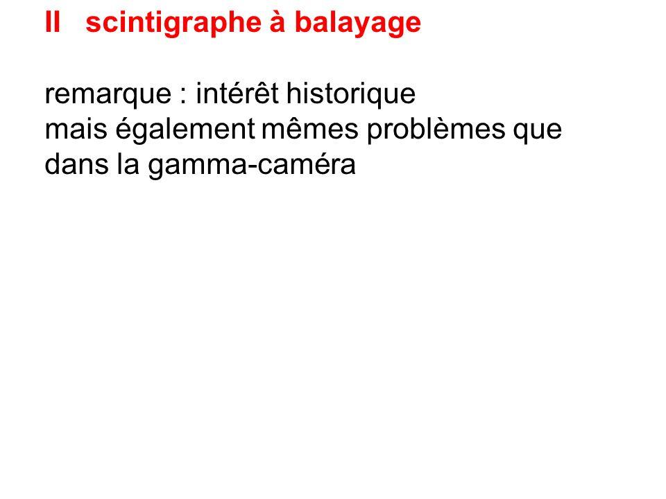 gamma - caméra I introduction II scintigraphe à balayage 1 Principe 2 propriétés du collimateur 3 intérêt et limites 4 version numérique III principe