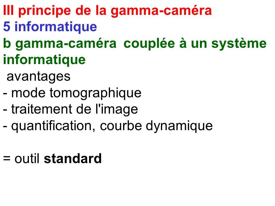 III principe de la gamma-caméra 5 informatique a limites de la caméra analogique * modes limités :- statique - dynamique - corps entier * pas de quant