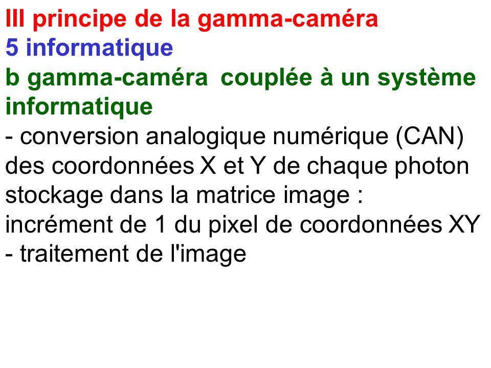 III principe de la gamma-caméra 5 informatique b gamma-caméra couplée à un système informatique avantages - mode tomographique - traitement de l'image