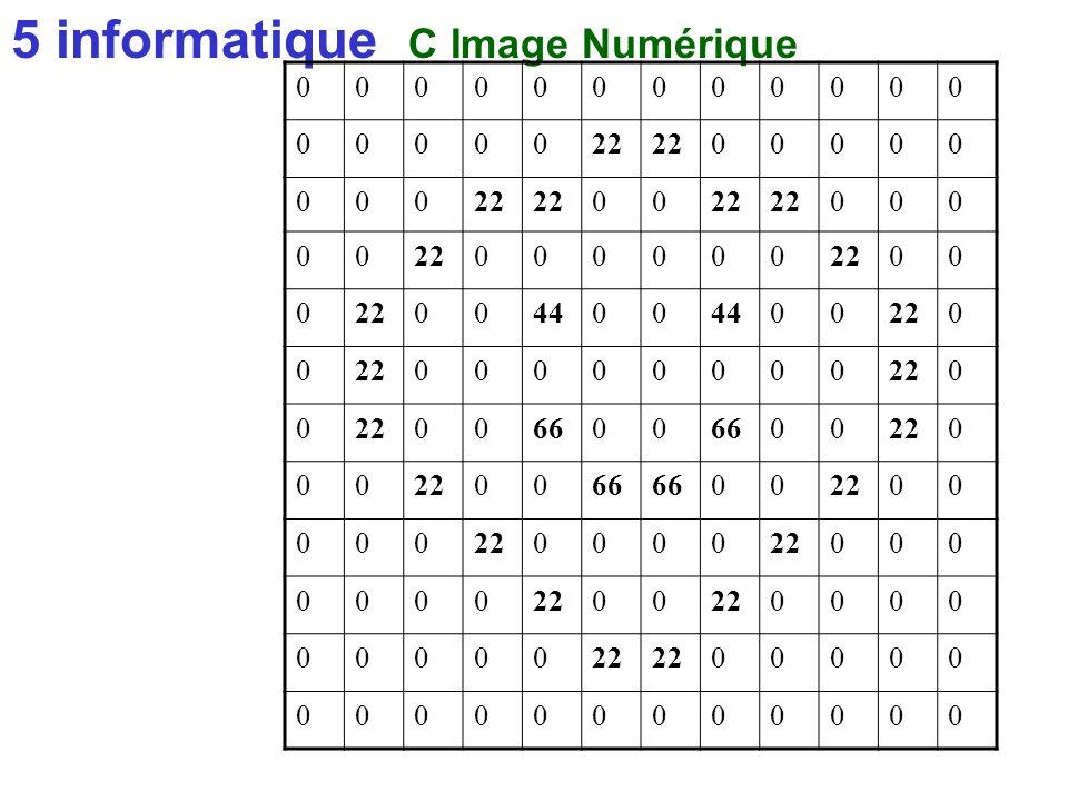 5 informatique C Image Numérique matrice initialisée à 0 + 3éme événement 00000 02000 00010 00000 00000