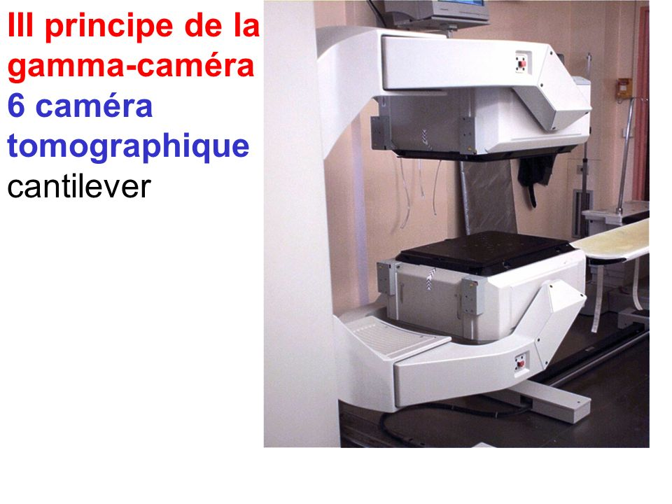 III principe de la gamma-caméra 6 caméra tomographique cantilever