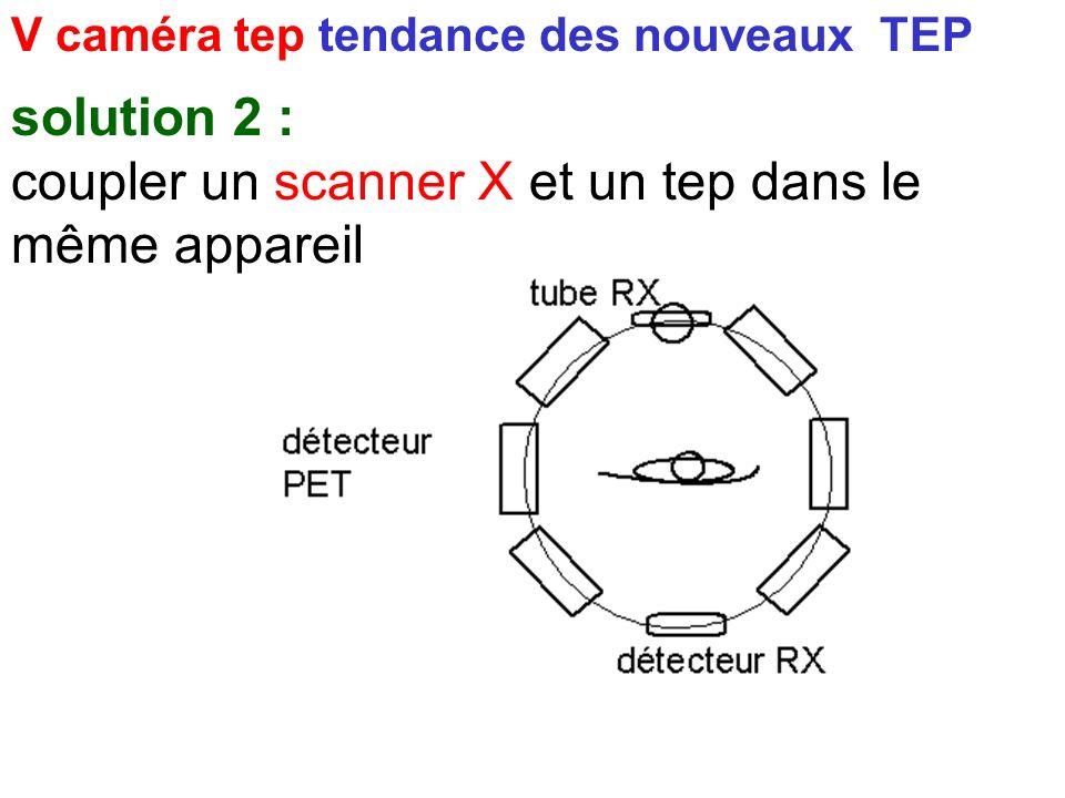 V caméra tep tendance des nouveaux TEP solution 1 : carte des coefficients d'atténuation obtenue par source scellée solution 2 : coupler un scanner X