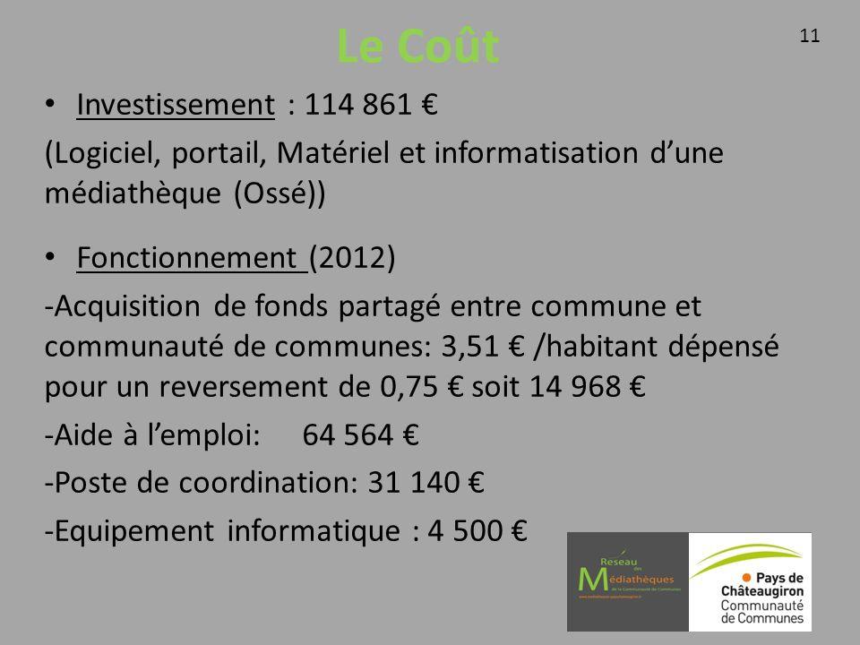 Le Coût Investissement : 114 861 (Logiciel, portail, Matériel et informatisation dune médiathèque (Ossé)) Fonctionnement (2012) -Acquisition de fonds partagé entre commune et communauté de communes: 3,51 /habitant dépensé pour un reversement de 0,75 soit 14 968 -Aide à lemploi:64 564 -Poste de coordination: 31 140 -Equipement informatique : 4 500 11