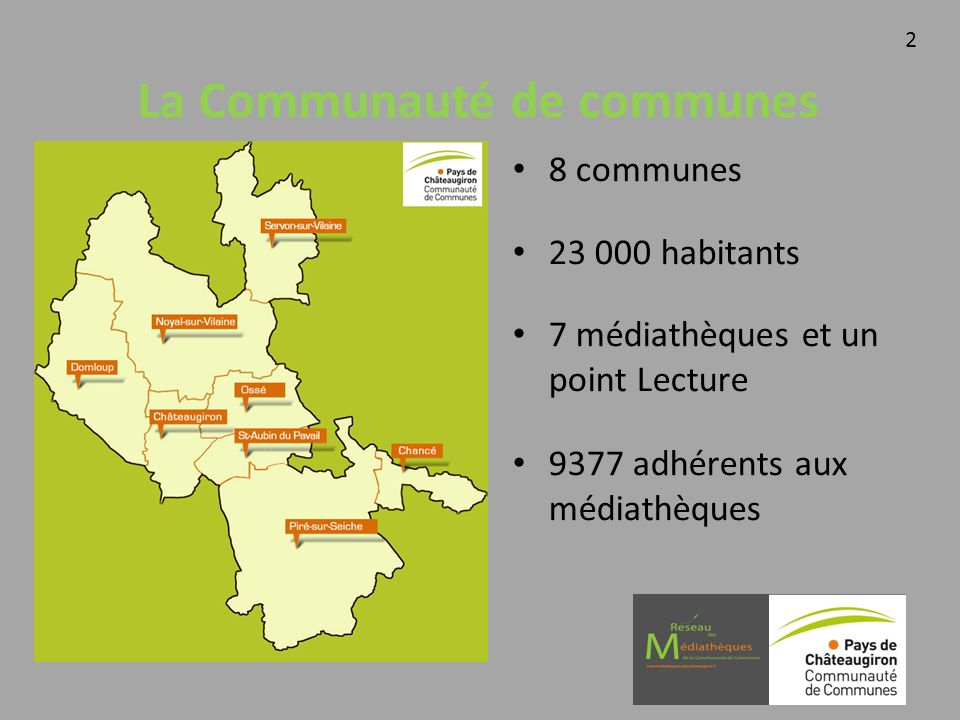 La Communauté de communes 8 communes 23 000 habitants 7 médiathèques et un point Lecture 9377 adhérents aux médiathèques 2