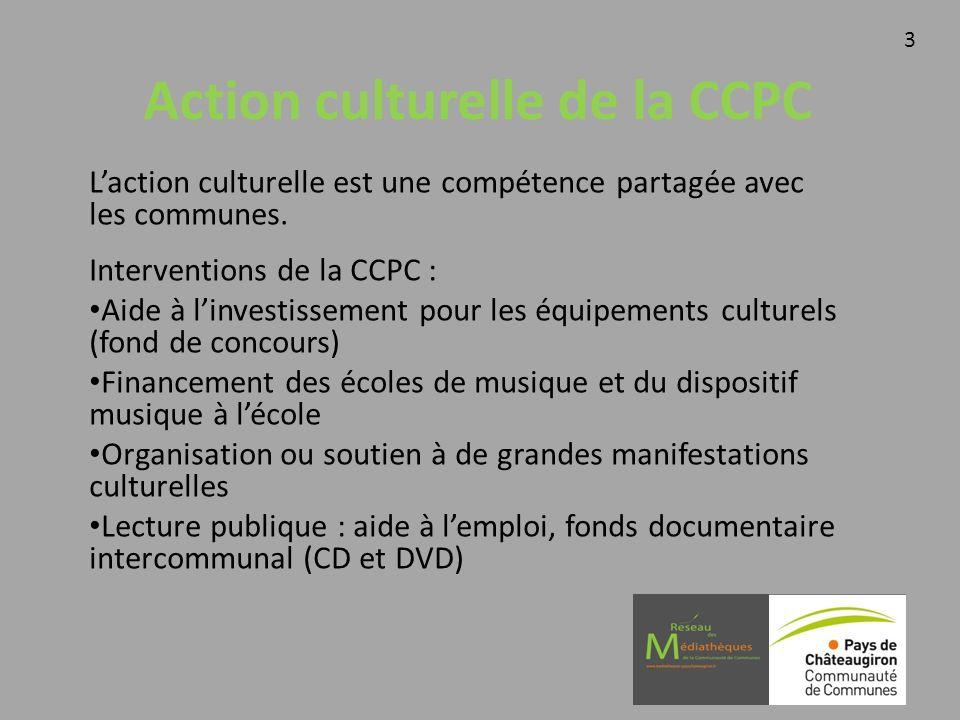 Action culturelle de la CCPC Laction culturelle est une compétence partagée avec les communes. Interventions de la CCPC : Aide à linvestissement pour