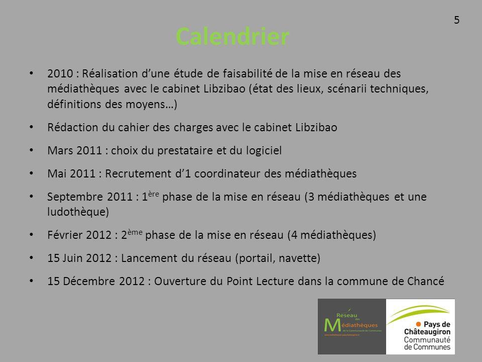 Calendrier 2010 : Réalisation dune étude de faisabilité de la mise en réseau des médiathèques avec le cabinet Libzibao (état des lieux, scénarii techniques, définitions des moyens…) Rédaction du cahier des charges avec le cabinet Libzibao Mars 2011 : choix du prestataire et du logiciel Mai 2011 : Recrutement d1 coordinateur des médiathèques Septembre 2011 : 1 ère phase de la mise en réseau (3 médiathèques et une ludothèque) Février 2012 : 2 ème phase de la mise en réseau (4 médiathèques) 15 Juin 2012 : Lancement du réseau (portail, navette) 15 Décembre 2012 : Ouverture du Point Lecture dans la commune de Chancé 5