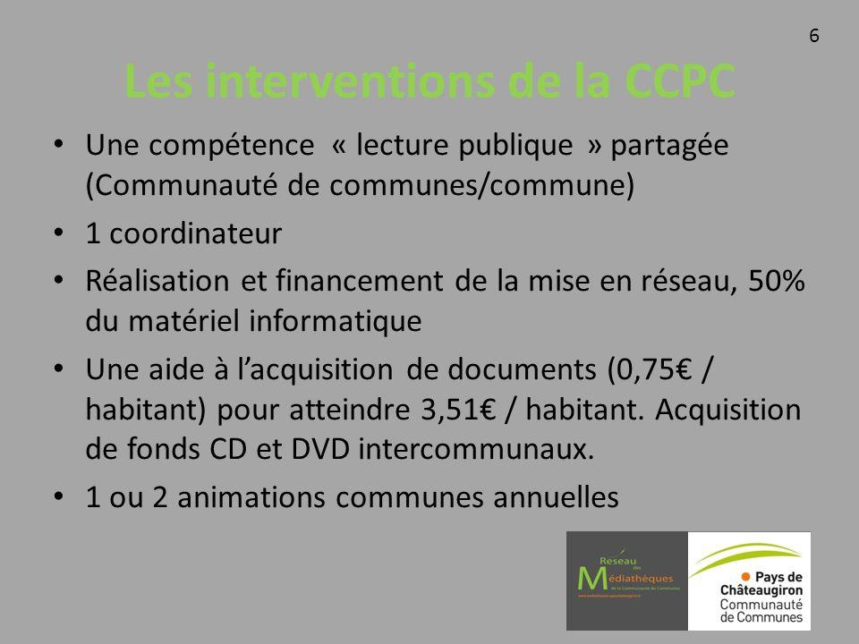 Les interventions de la CCPC Une compétence « lecture publique » partagée (Communauté de communes/commune) 1 coordinateur Réalisation et financement d