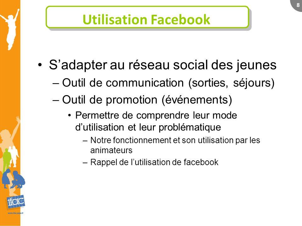 8 Utilisation Facebook Sadapter au réseau social des jeunes –Outil de communication (sorties, séjours) –Outil de promotion (événements) Permettre de c