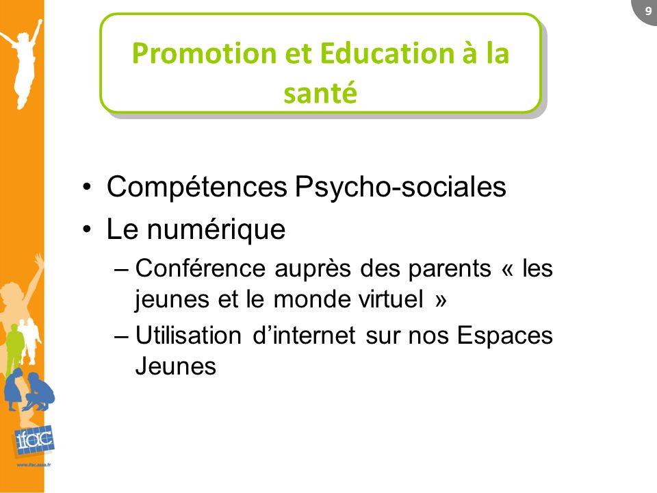 9 Compétences Psycho-sociales Le numérique –Conférence auprès des parents « les jeunes et le monde virtuel » –Utilisation dinternet sur nos Espaces Jeunes Promotion et Education à la santé