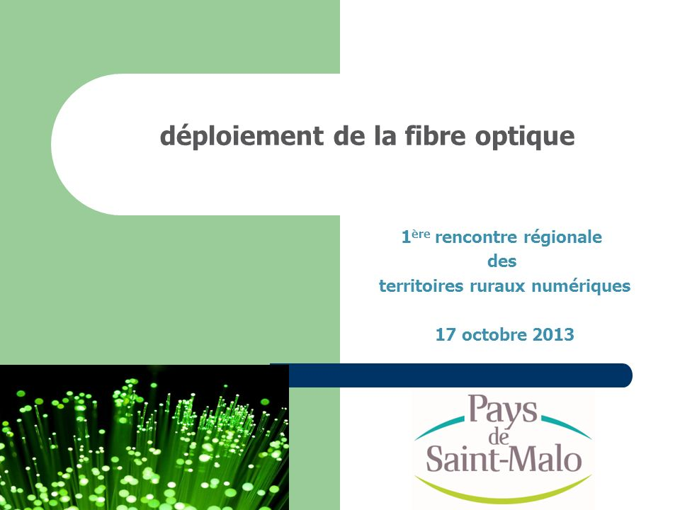 déploiement de la fibre optique 1 ère rencontre régionale des territoires ruraux numériques 17 octobre 2013
