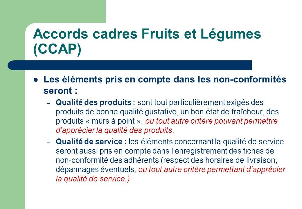 Accords cadres Fruits et Légumes (CCAP) Les éléments pris en compte dans les non-conformités seront : – Qualité des produits : sont tout particulièrem