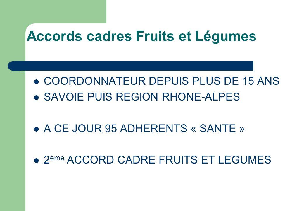 Accords cadres Fruits et Légumes COORDONNATEUR DEPUIS PLUS DE 15 ANS SAVOIE PUIS REGION RHONE-ALPES A CE JOUR 95 ADHERENTS « SANTE » 2 ème ACCORD CADR