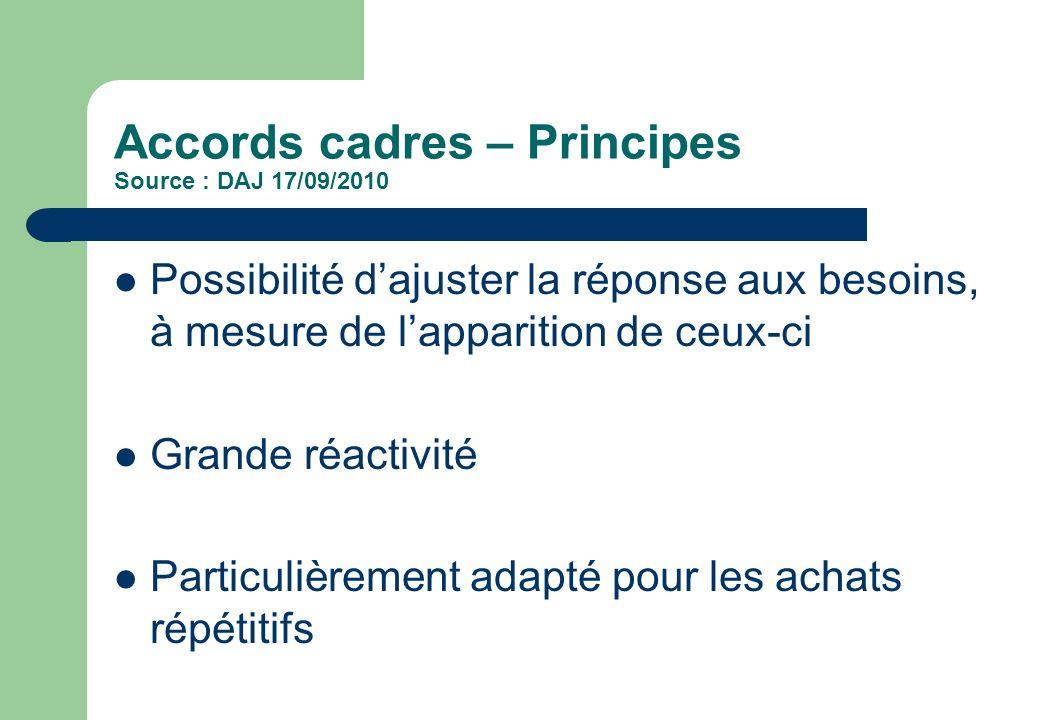 Accords cadres – Principes Source : DAJ 17/09/2010 Possibilité dajuster la réponse aux besoins, à mesure de lapparition de ceux-ci Grande réactivité P