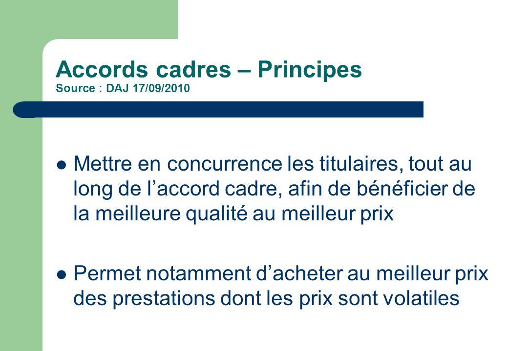 Accords cadres – Principes Source : DAJ 17/09/2010 Mettre en concurrence les titulaires, tout au long de laccord cadre, afin de bénéficier de la meill