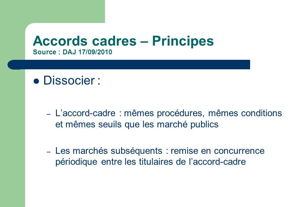 Accords cadres – Principes Source : DAJ 17/09/2010 Dissocier : – Laccord-cadre : mêmes procédures, mêmes conditions et mêmes seuils que les marché pub