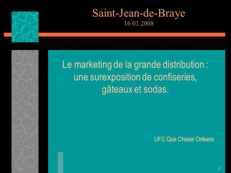 1 Saint-Jean-de-Braye 16.01.2008 Le marketing de la grande distribution : une surexposition de confiseries, gâteaux et sodas.