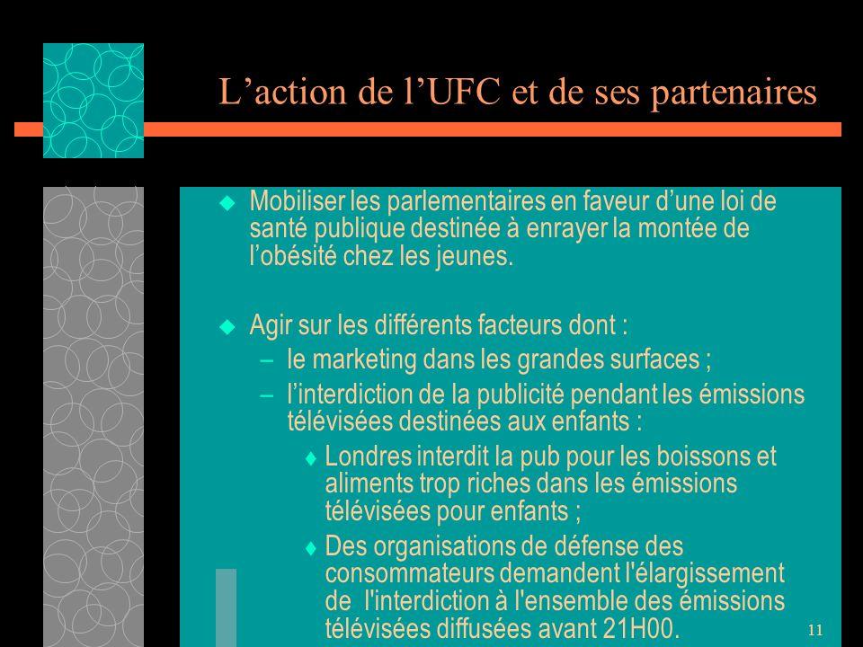 11 Laction de lUFC et de ses partenaires Mobiliser les parlementaires en faveur dune loi de santé publique destinée à enrayer la montée de lobésité chez les jeunes.