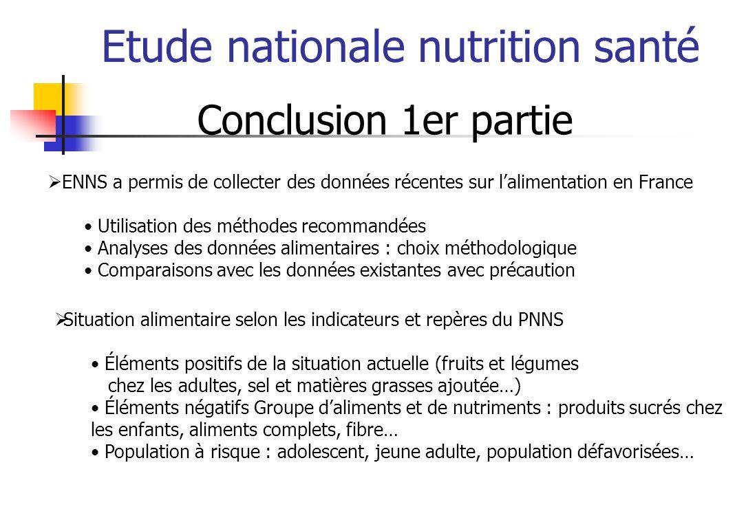 Etude nationale nutrition santé Conclusion 1er partie ENNS a permis de collecter des données récentes sur lalimentation en France Utilisation des méth