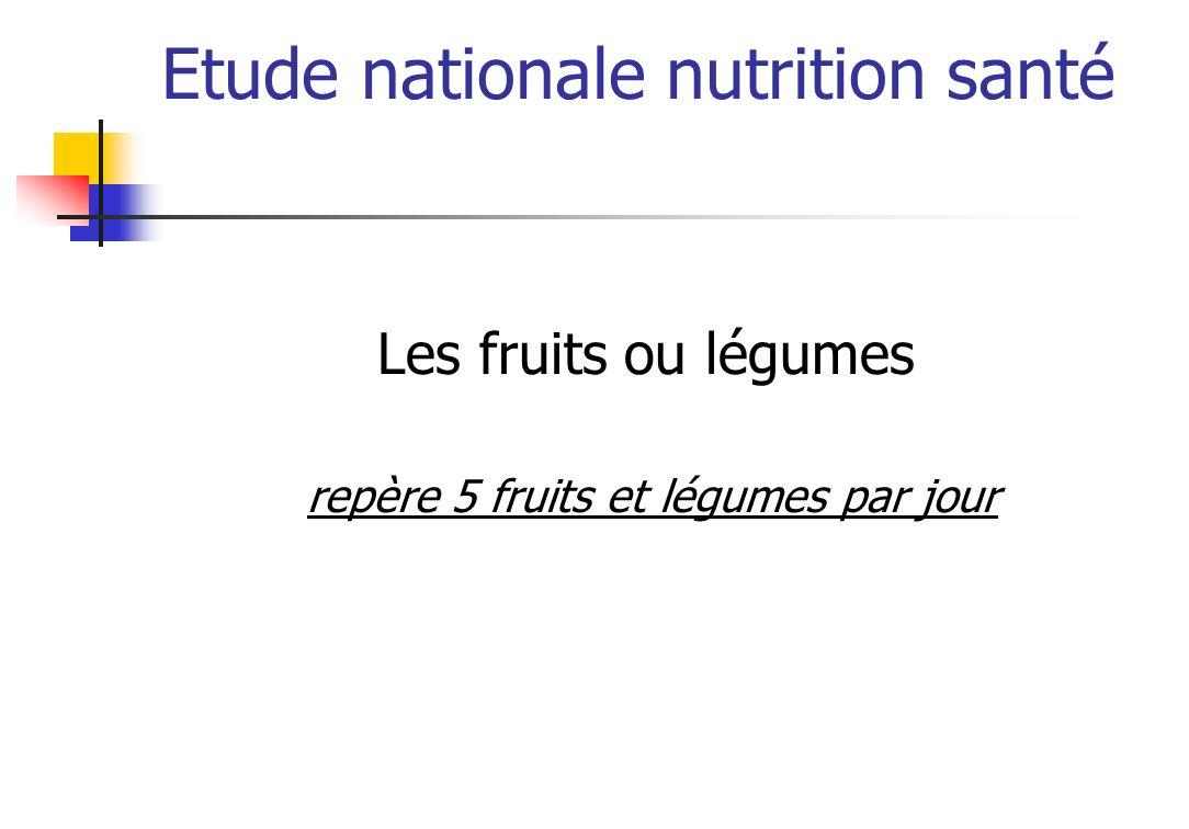 Etude nationale nutrition santé Les fruits ou légumes repère 5 fruits et légumes par jour