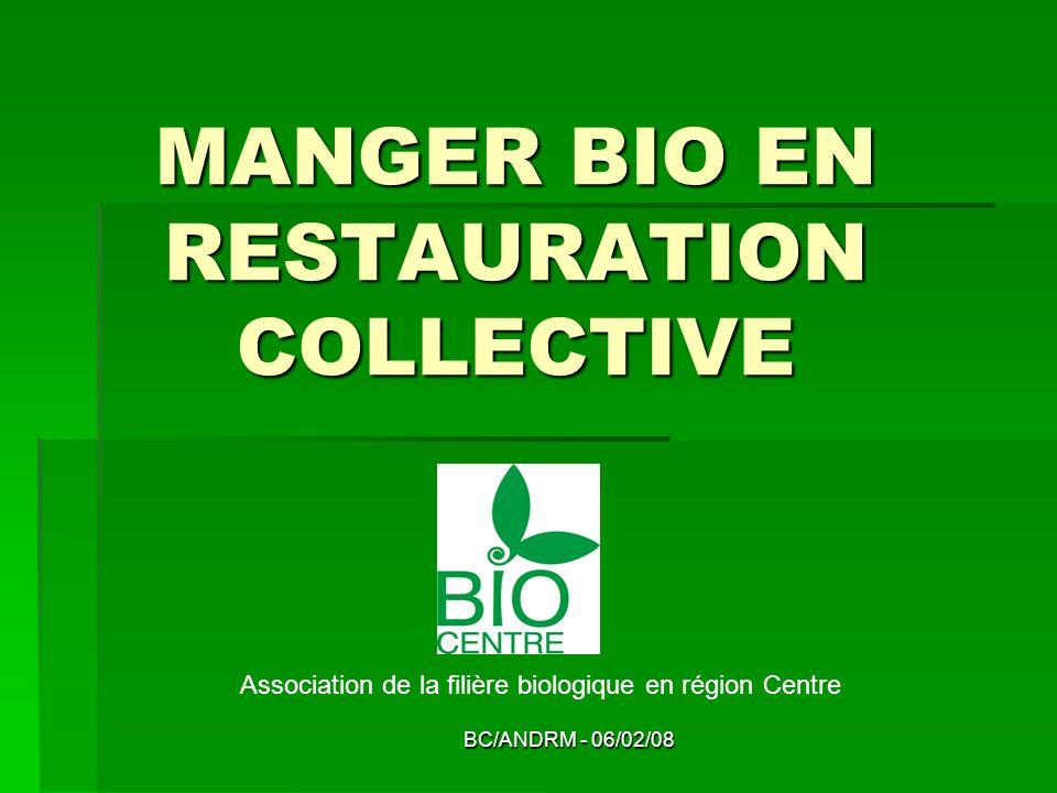 BC/ANDRM - 06/02/08 MANGER BIO EN RESTAURATION COLLECTIVE Association de la filière biologique en région Centre