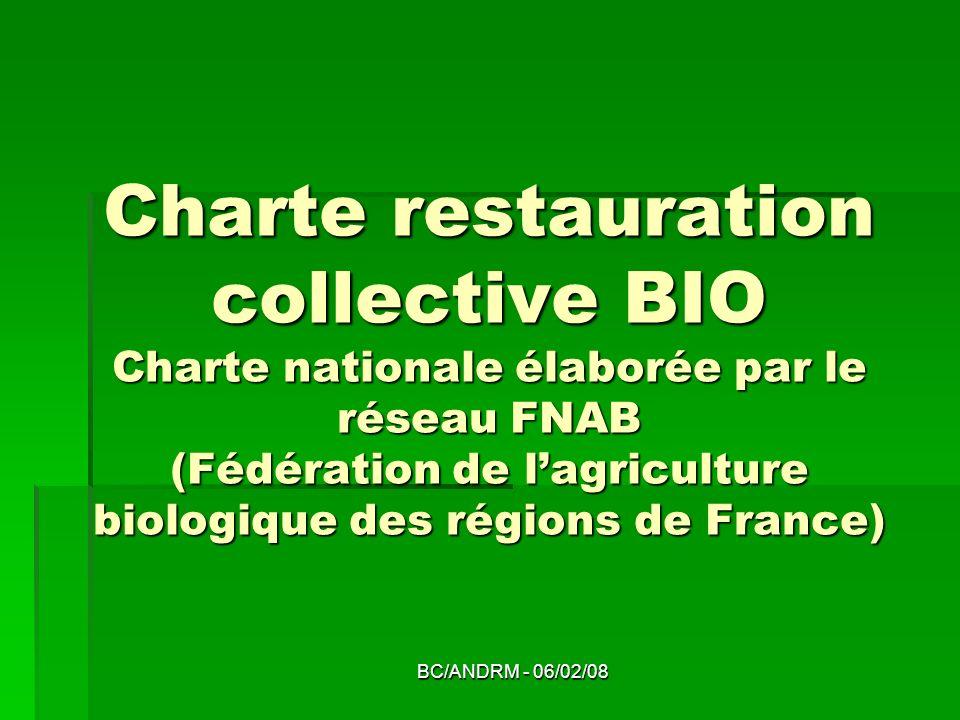 BC/ANDRM - 06/02/08 Charte restauration collective BIO Charte nationale élaborée par le réseau FNAB (Fédération de lagriculture biologique des régions