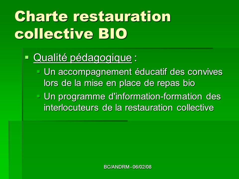 BC/ANDRM - 06/02/08 Charte restauration collective BIO Qualité pédagogique : Qualité pédagogique : Un accompagnement éducatif des convives lors de la