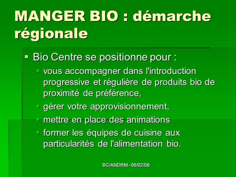 BC/ANDRM - 06/02/08 MANGER BIO : démarche régionale Bio Centre se positionne pour : Bio Centre se positionne pour : vous accompagner dans l'introducti