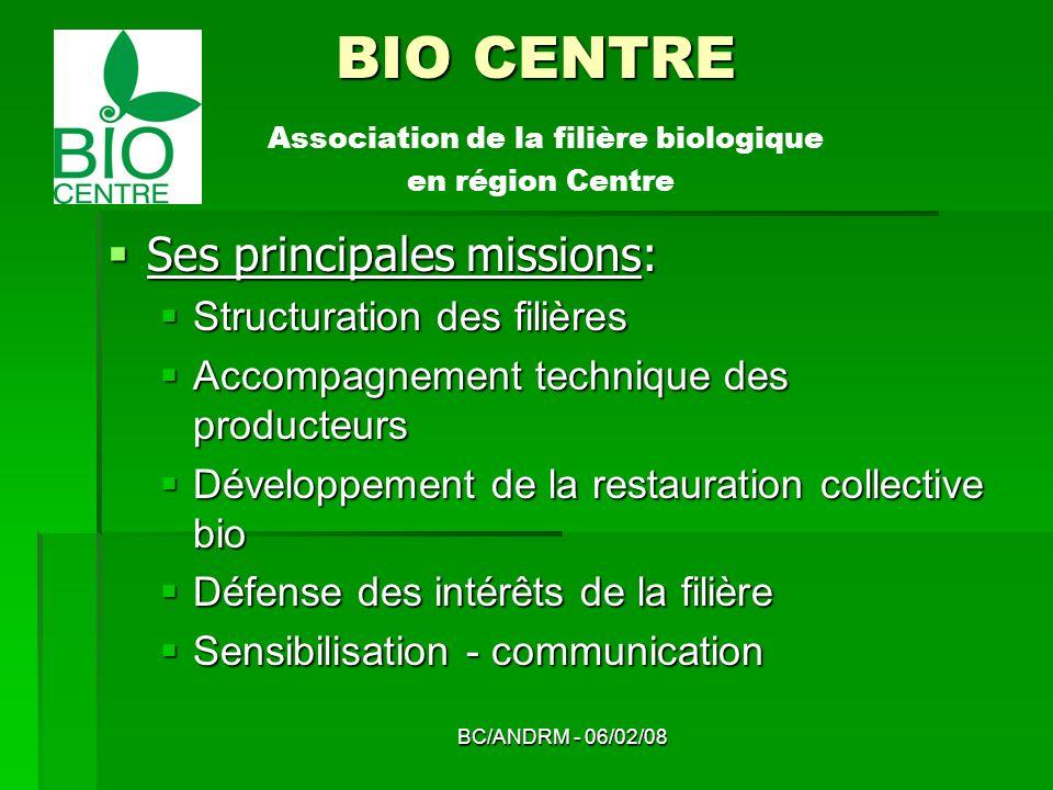 BC/ANDRM - 06/02/08 BIO CENTRE BIO CENTRE Association de la filière biologique en région Centre Ses principales missions: Ses principales missions: St