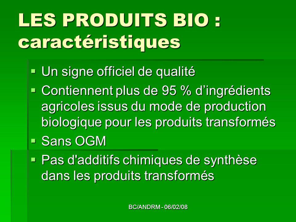 BC/ANDRM - 06/02/08 LES PRODUITS BIO : caractéristiques Un signe officiel de qualité Un signe officiel de qualité Contiennent plus de 95 % dingrédient
