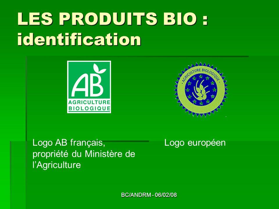 BC/ANDRM - 06/02/08 LES PRODUITS BIO : identification Logo AB français, propriété du Ministère de lAgriculture Logo européen