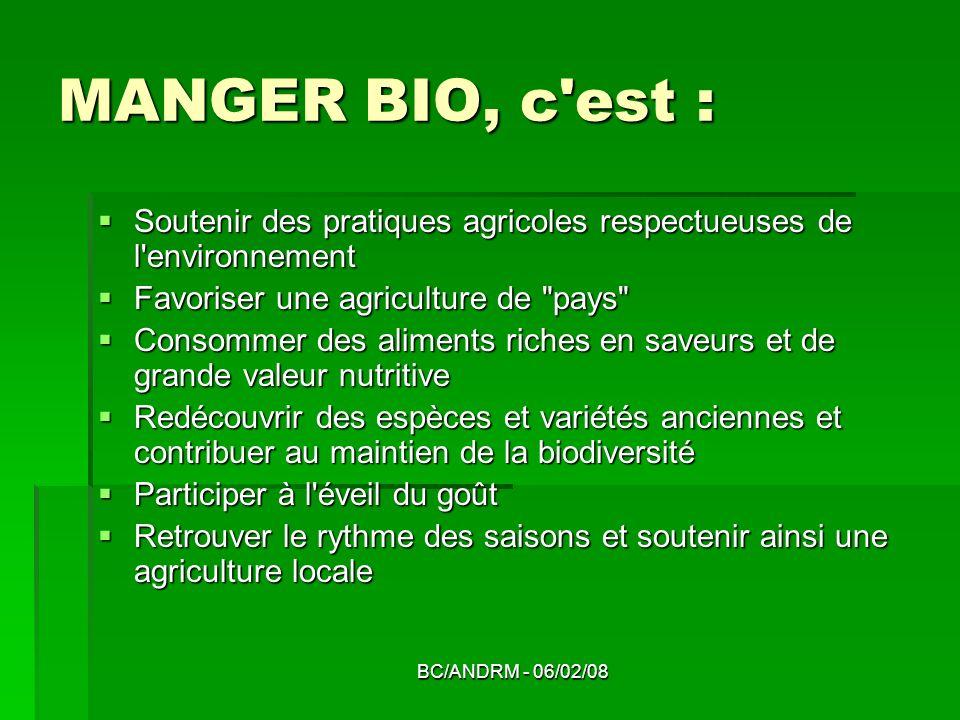 BC/ANDRM - 06/02/08 MANGER BIO, c'est : Soutenir des pratiques agricoles respectueuses de l'environnement Soutenir des pratiques agricoles respectueus