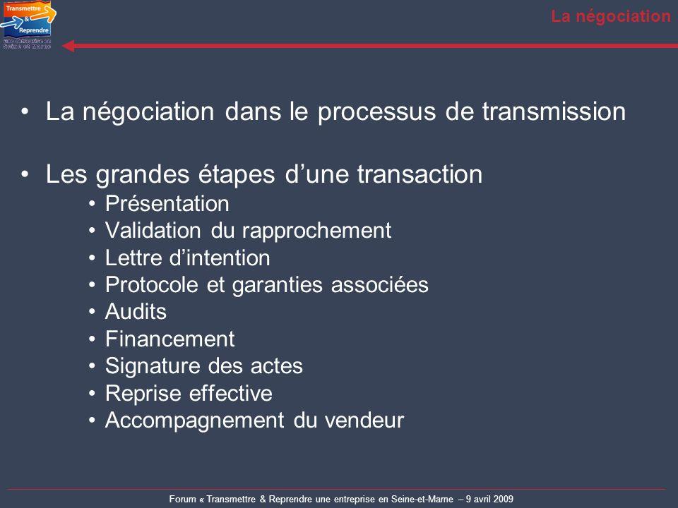 Forum « Transmettre & Reprendre une entreprise en Seine-et-Marne – 9 avril 2009 La négociation La négociation dans le processus de transmission Les gr