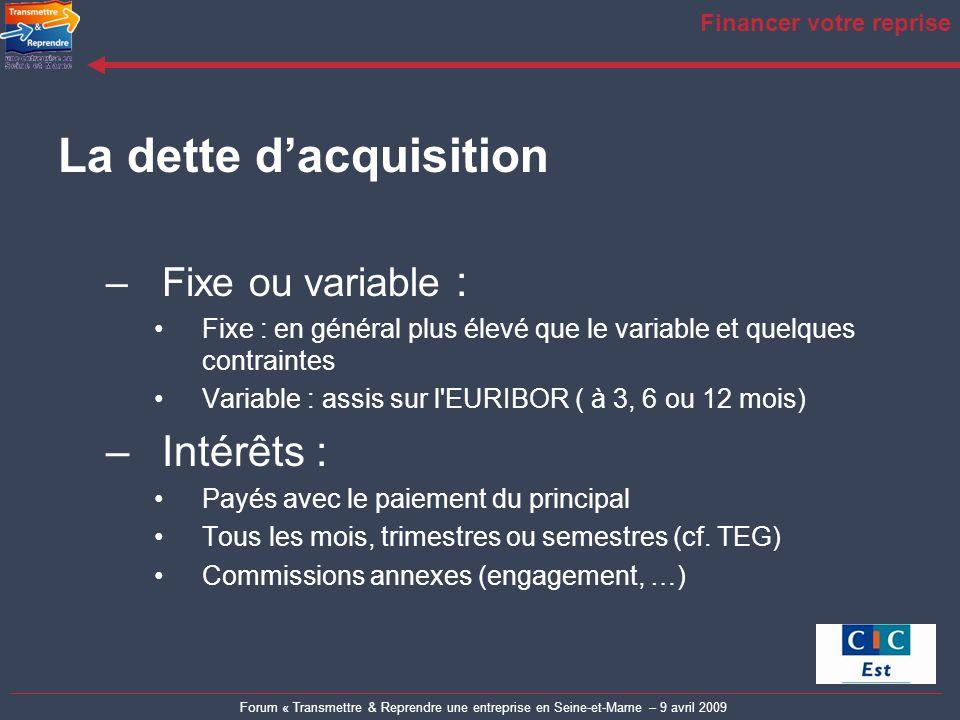 Forum « Transmettre & Reprendre une entreprise en Seine-et-Marne – 9 avril 2009 Financer votre reprise La dette dacquisition –Fixe ou variable : Fixe