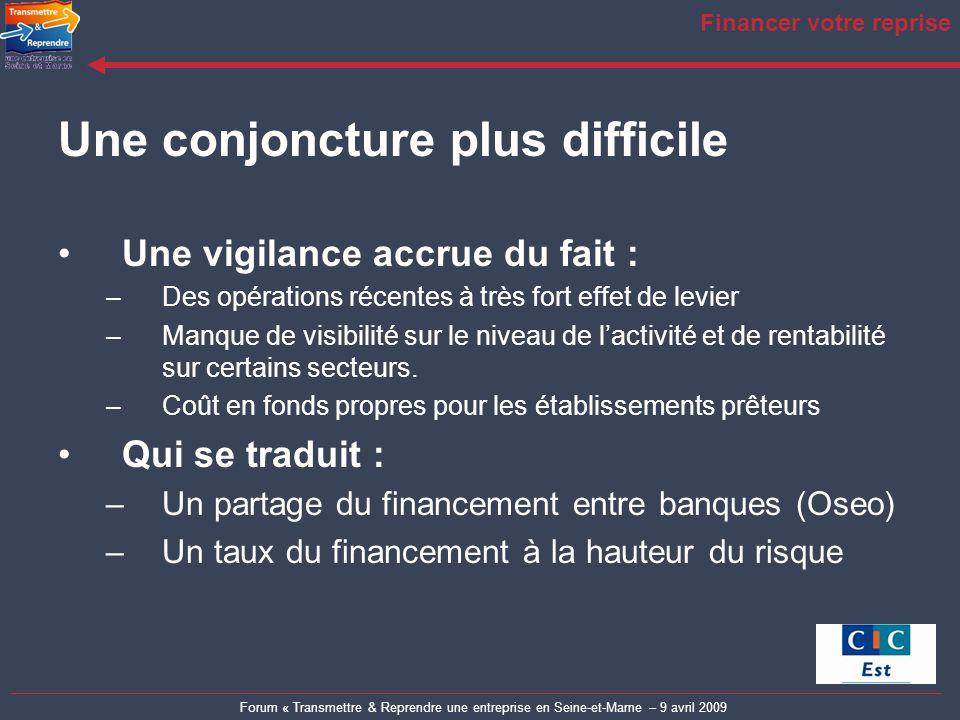 Forum « Transmettre & Reprendre une entreprise en Seine-et-Marne – 9 avril 2009 Financer votre reprise Une conjoncture plus difficile Une vigilance ac