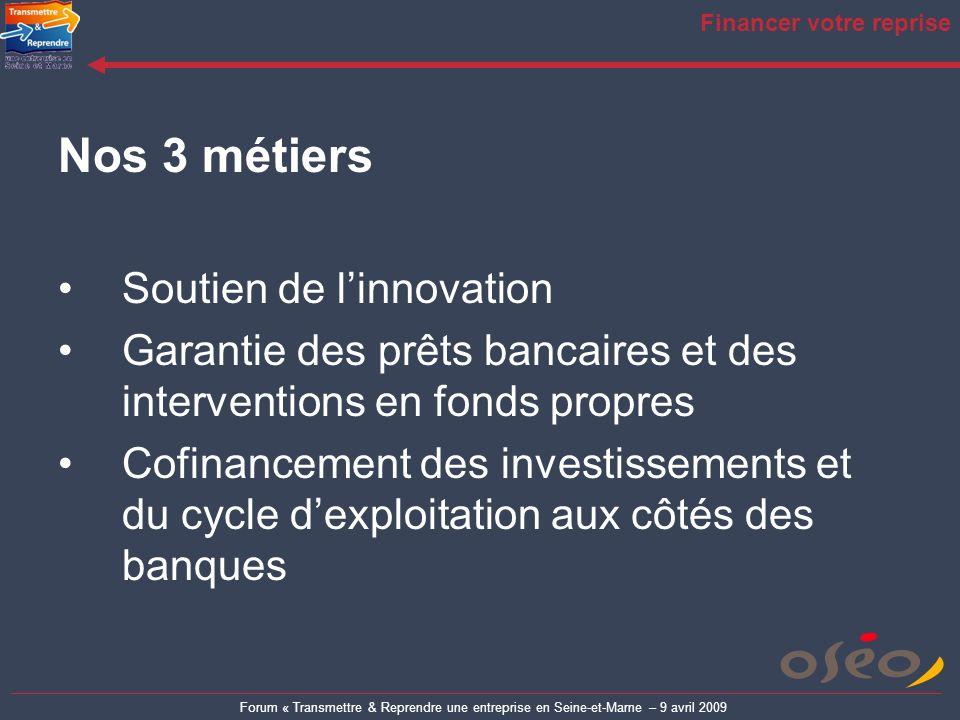 Forum « Transmettre & Reprendre une entreprise en Seine-et-Marne – 9 avril 2009 Financer votre reprise Nos 3 métiers Soutien de linnovation Garantie d