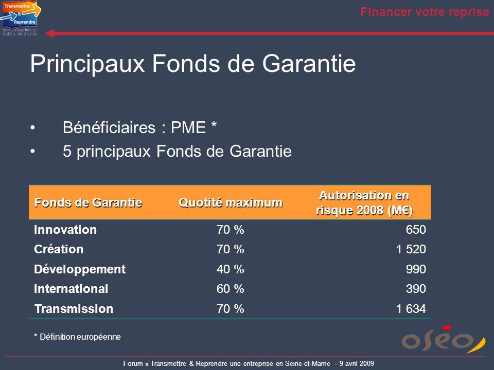 Forum « Transmettre & Reprendre une entreprise en Seine-et-Marne – 9 avril 2009 Financer votre reprise Principaux Fonds de Garantie Bénéficiaires : PM