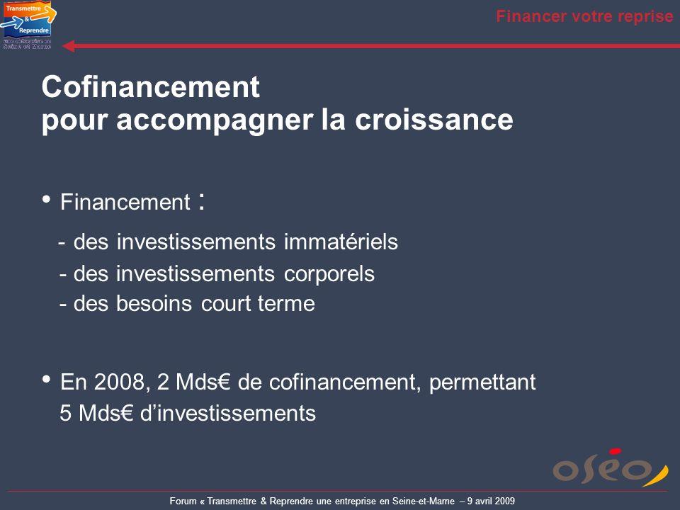 Forum « Transmettre & Reprendre une entreprise en Seine-et-Marne – 9 avril 2009 Financer votre reprise Cofinancement pour accompagner la croissance Fi