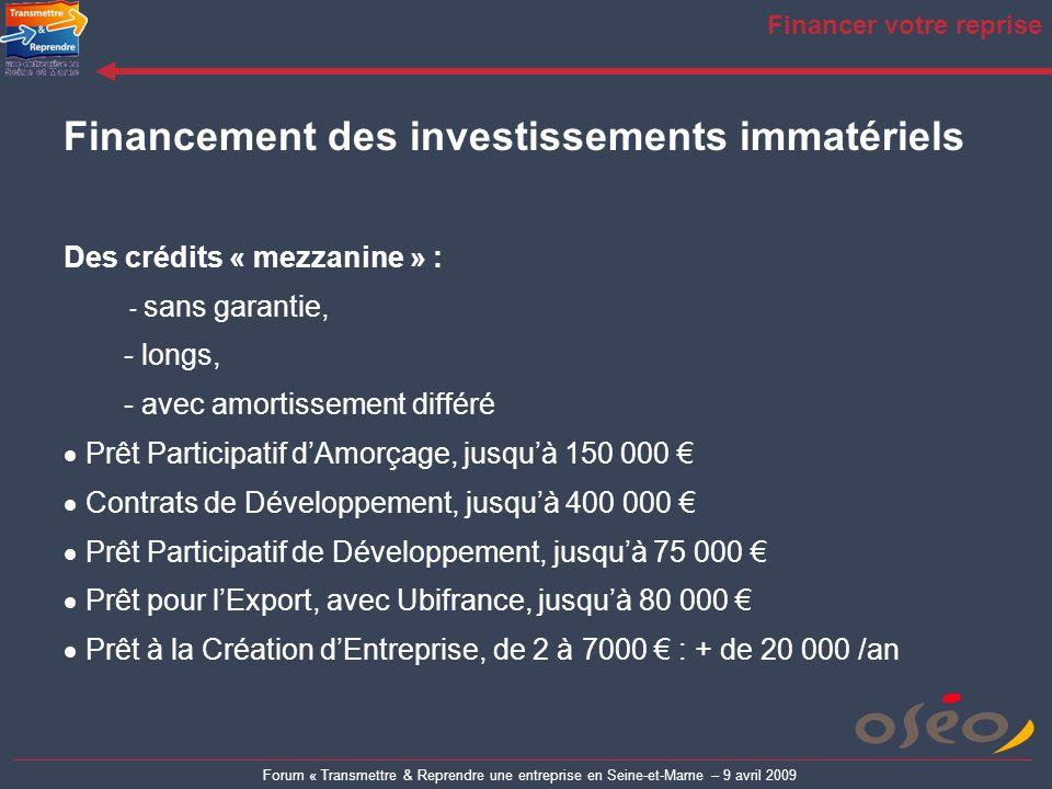 Forum « Transmettre & Reprendre une entreprise en Seine-et-Marne – 9 avril 2009 Financer votre reprise Financement des investissements immatériels Des