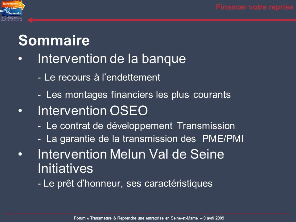 Forum « Transmettre & Reprendre une entreprise en Seine-et-Marne – 9 avril 2009 Financer votre reprise Plan général Le schéma de montage financier La dette d acquisition Conclusion