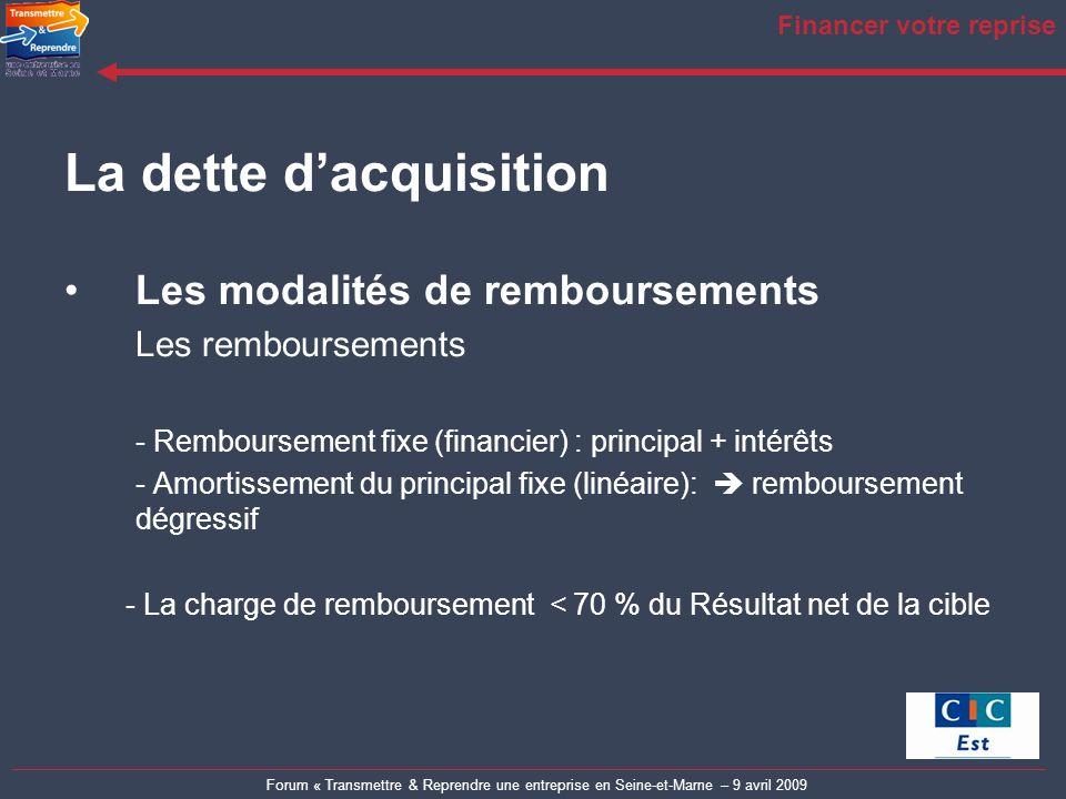 Forum « Transmettre & Reprendre une entreprise en Seine-et-Marne – 9 avril 2009 Financer votre reprise La dette dacquisition Les modalités de rembours